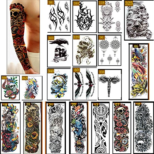 Temporary Tattoos, Full Arm Extra Tattoo Paper, Non-permanent Body DIY Stickers for Man Women (20 Sheets) by KINIVA -