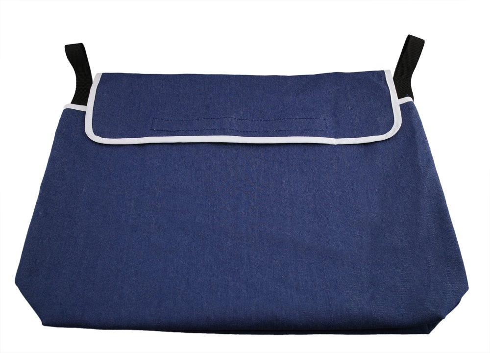 ObboMed® MY-5940N Washable Wheelchair Travel Bag/Backpack, Storage Tote Pouch and Pocket for Items and Accessories, Cotton & Polyester, Denim Blue, 1pc