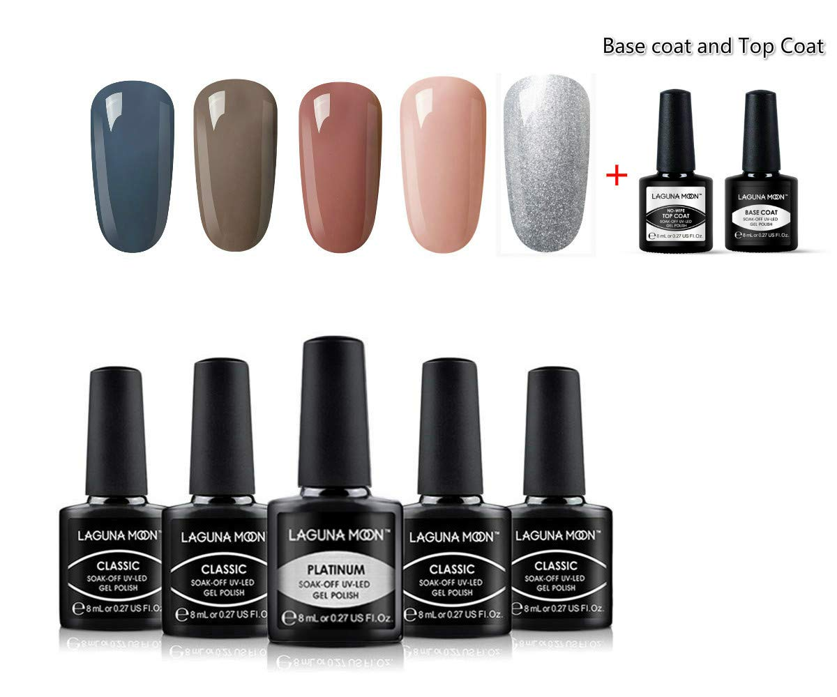Lagunamoon Gel Nail Polish 5 Colour Gel Polish Set With Gel Base Coat and Top Coat Nail Polish Manicure Varnish Kit