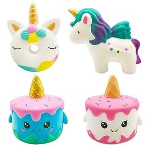 Vanely 4Pcs Slow Rising Jumbo Squishies Narwhale Cake,Uincorn Cake,Unicorn Donut,Rainbow Horse Set Cream Scented Soft Squeeze Novelty Toy Stress Relief Hop Props Sensory Toys