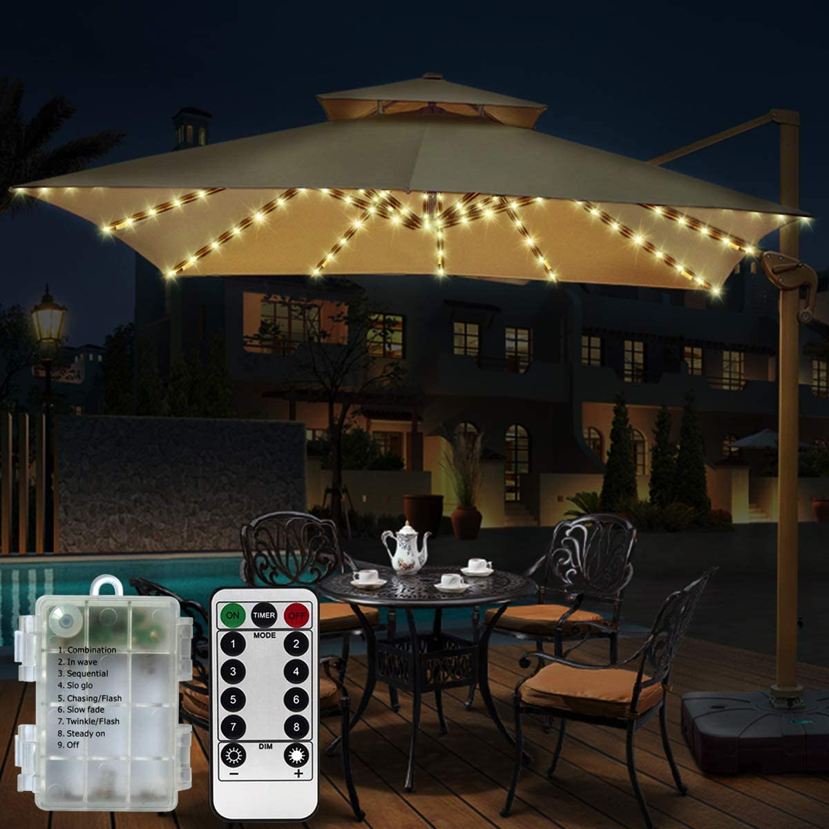 Patio Umbrella Lights 3 Lighting Mode Wireless 28 LED Light Battery Operated