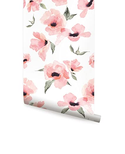 Watercolor Poppy Flowers Wallpaper Peel And Stick By