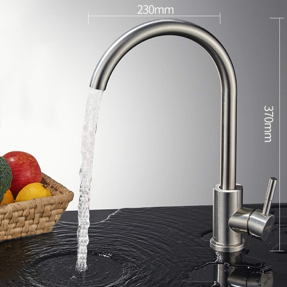 D W23xH37cm(9x15inch) redating Single Kitchen Faucet, Sink Faucet Hot and Cold Water tap redates 720掳 Lavatory Faucet with Two 60cm Inlet Pipe and Triangle Valve-I W22xH30.5cm(9x12inch)