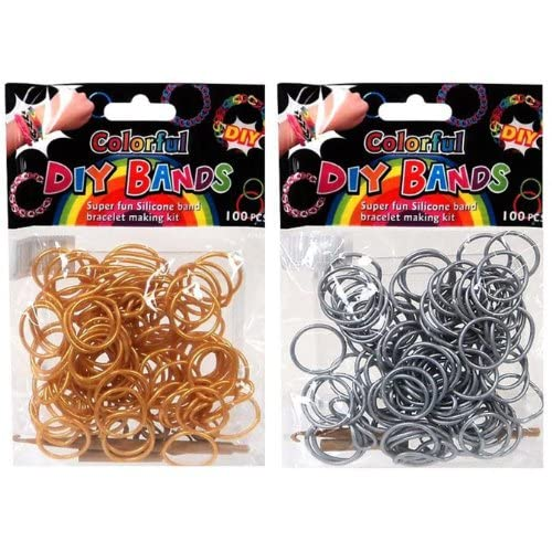 DIY Loom Rubber Bands - 100 Count Silver + 100 Count Gold Refill