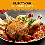 OMorc Turkey Baster 4-Piece Set with Barbecue Basting Brush, Meat Marinade Injector Needle & Cleaning Brush, Perfect for Basting and Marinating Turkey, Beef, Pork, Fish 14 Versatile Baster Set. The baster set includes 1 baster, 1 basting brush, 1 injector needle and 1 cleaning brush. Perfect for enhancing flavor to pork, beef, and fish and make them tastier. Food Grade Safe Materials. The silicone bulb and basting brush are heat-resistant and certified by FDA. Made of PP (Polypropylene), the long tube is durable instead of breaking easily. Stainless steel injector needle with sharp tip makes piercing of meats a breeze. Two holes can dispense juice efficiently. Dual Measurement Markings. Different from others, our baster has dual measurement markings. Convenient for you to read and visible to the content and capacity of clear tube.