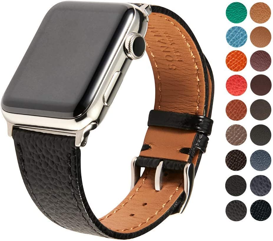 SONAMU New York Compatible with Apple Watch Band 42mm, Premium Italian Caviar Leather Strap with Stainless Steel Buckle, Black