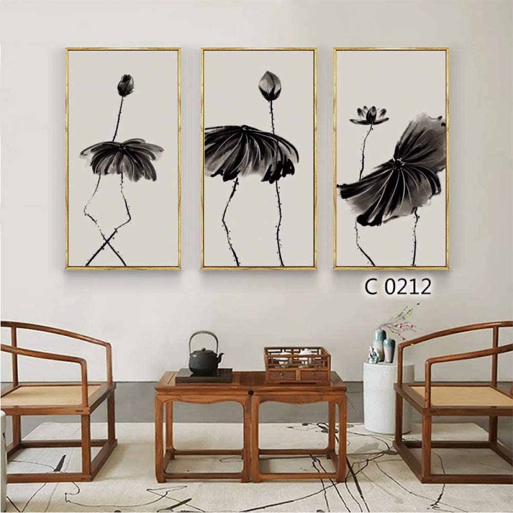 zlhcich Flor de Loto Triple Pintura núcleo salón decoración Pintura al óleo H Pintura corazón 50 * 70 cm: Amazon.es: Hogar
