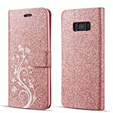 UEEBAI Case for Samsung Galaxy S7 Edge,Luxury Bling Glitter Case with [Magnetic Closure] [Card Slots] PU Leather Flip Wallet Cover with Elegant Flower Pattern for Samsung Galaxy S7 Edge - Rose gold