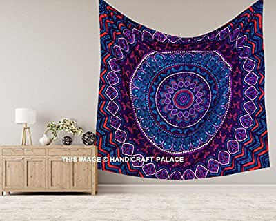Handicraft-Palace Egyptian Hippie Mandala Wall Hanging Quilt Tapestry Sheet/Tribal Ethnic Ombre Bohemian Queen Bedspread Blanket/Indian Traditional Psychedelic Cotton Gypsy Meditation Duvet Throw