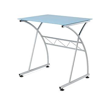 Due-home - Mesa escritorio ordenador Newton, cristal Azul estructura metálica, medidas 70x54x73 de altura: Amazon.es: Hogar
