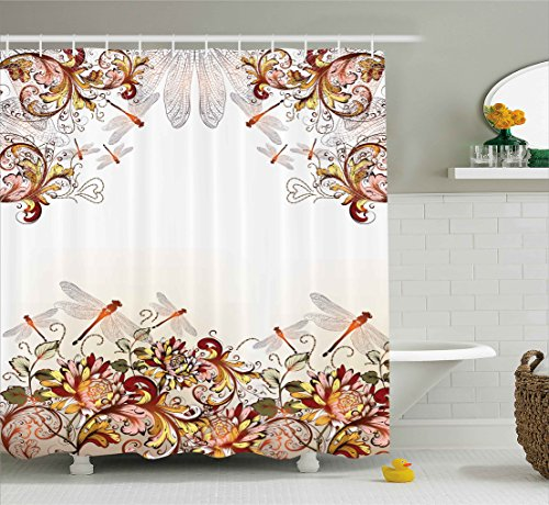 Pastoral Collection (Ambesonne Flower Decor Collection, Dragonfly Floral Pastoral Wings for Women Girls and Teens, Polyester Fabric Bathroom Shower Curtain Set with Hooks, Brown White Colorful)