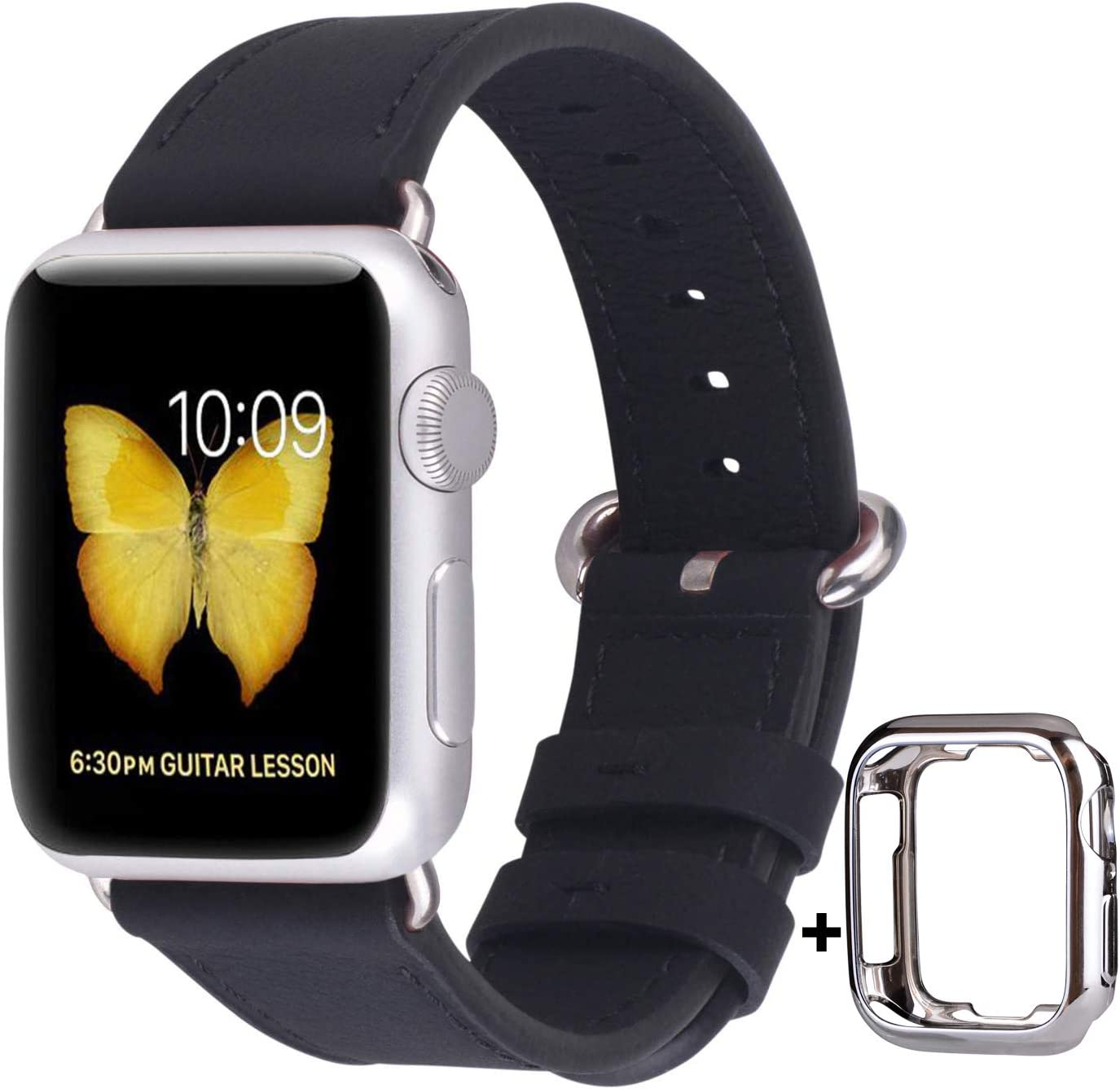 JSGJMY Compatible with Apple Watch Band 38mm 40mm 42mm 44mm Women Men Genuine Leather Replacement Strap for iWatch Series SE 6 5 4 3 2 1 (Black with Silver Stainless Steel Clasp, 38mm/40mm S/M)