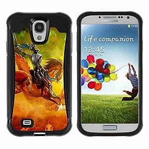 A-type Arte & diseño Anti-Slip Shockproof TPU Fundas Cover Cubre Case para Samsung Galaxy S4 IV (I9500 / I9505 / I9505G) / SGH-i337 ( Knight On Horse Painting )
