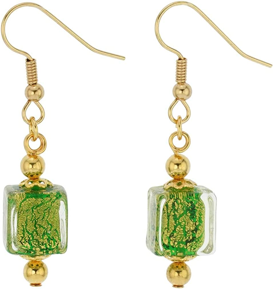 GlassOfVenice Murano Glass Antico Tesoro Cubes Earrings - Apple Green