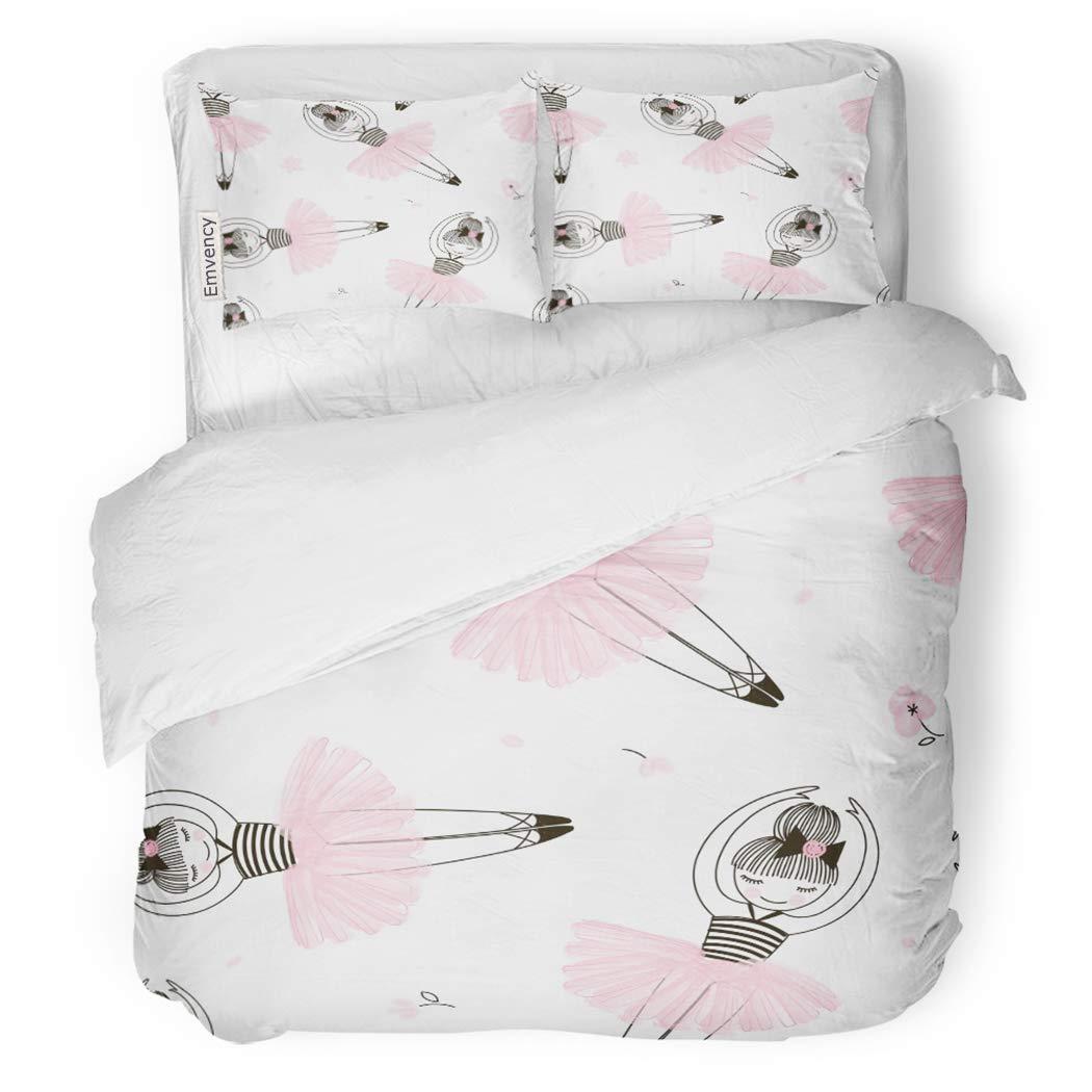 SanChic Duvet Cover Set Pink Ballet Cute Ballerina Child Dance Graphic Adorable Decorative Bedding Set with 2 Pillow Shams Full/Queen Size