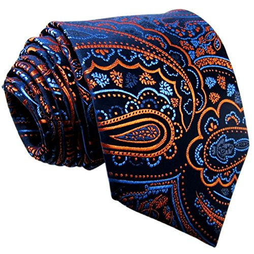 Shlax & Wing Extra Long Mens Necktie Paisley Navy Orange Silk Tie Classic For (Classic Paisley Tie)