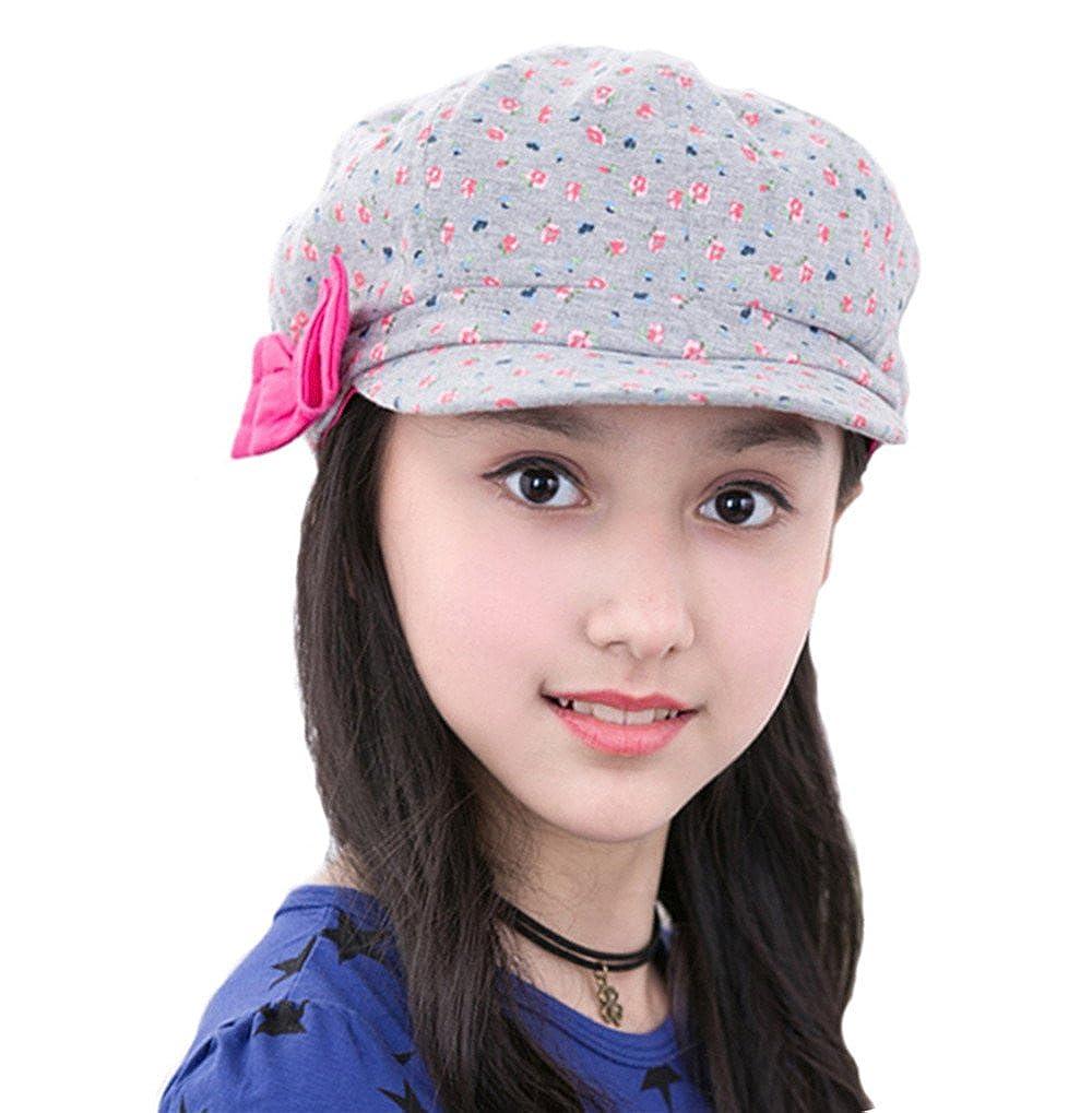 Cotton Newsboy Cap Girls Children Red Bowknot Summer Sun Hats Flat Caps doublebulls