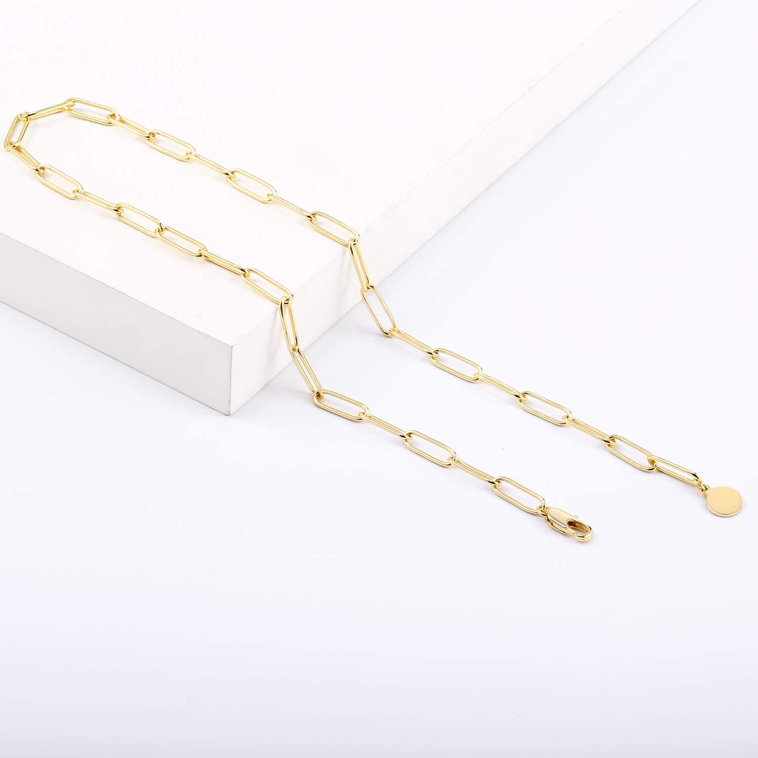 Paperclip Necklace, 14K Gold Plated Oval Dainty Choker Chain Link Necklace for Women Girls: Jewelry
