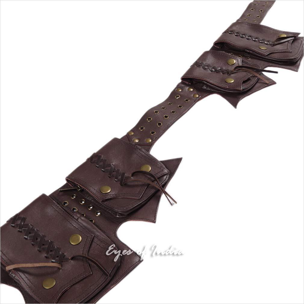 Eyes of India schwarz oder Braun Ledergürtel Bum Hüfte Taille Tasche Trage Gürteltasche Tasche Reise - braun  1