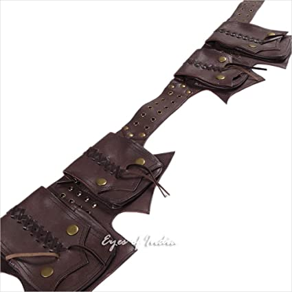 930b94b46 Image Unavailable. Image not available for. Color  Eyes of India - Brown Leather  Belt Hip Waist Bum Bag Pouch Fanny Pack Utility Pocket