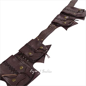 6d2bd470bc2a Eyes of India - Brown Leather Belt Hip Waist Bum Bag Pouch Fanny Pack  Utility Pocket Travel