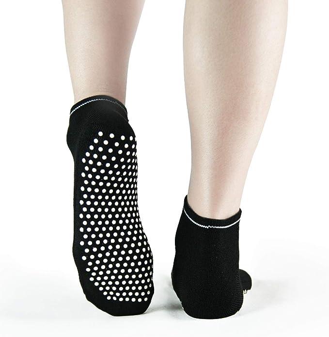 Calcetines Antideslizantes para Hombre y Mujer 4 Pares de Calcetines Gruesos de Pilates Antideslizantes para el Viejo Invierno c/álido Piyo Grips Calcetines de Ballet HYCLES