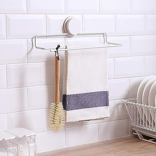 Toallero de pared para baño/baño sin taladros/soporte para rollo de cocina/para armario de baño de cocina, resistente al agua, color blanco y óxido: ...