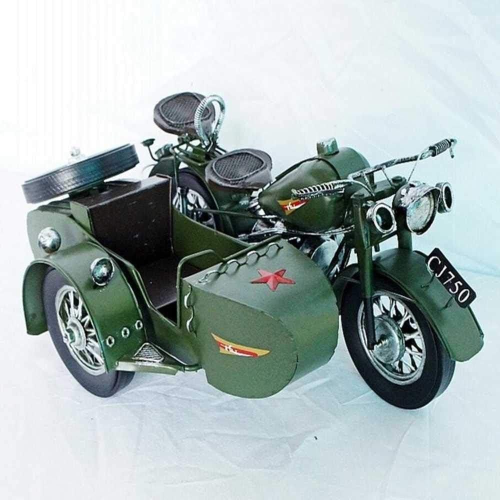 JJRQ - Adorno para Barra de café, diseño de Triciclo de Motor Antiguo Envejecido, Verde, 32.5x24.5x14.5cm