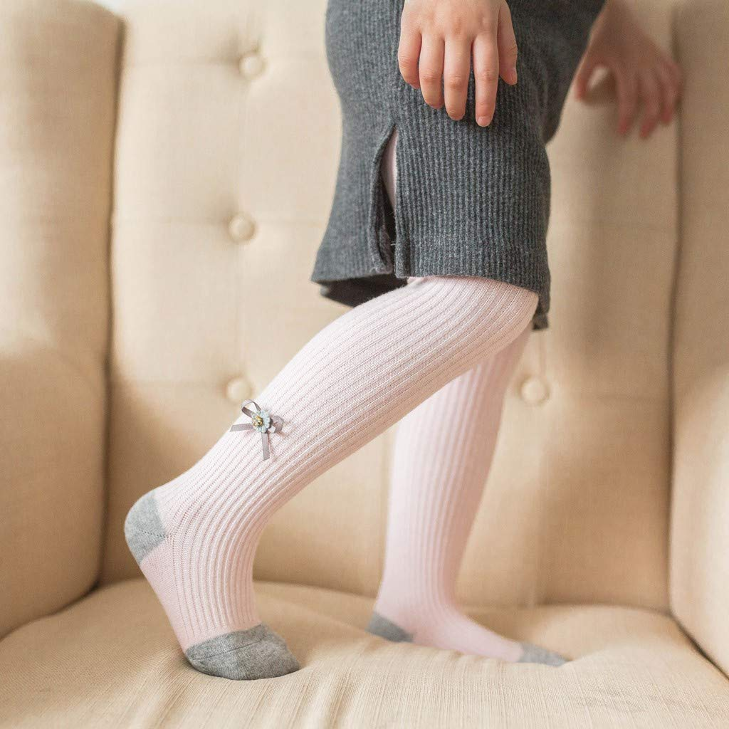 Zerototens Toddler Stockings,0-4 Years Old Baby Girls Bow Skinny Pants Knitted Trousers Stretchy Warm Leggings Dancewear