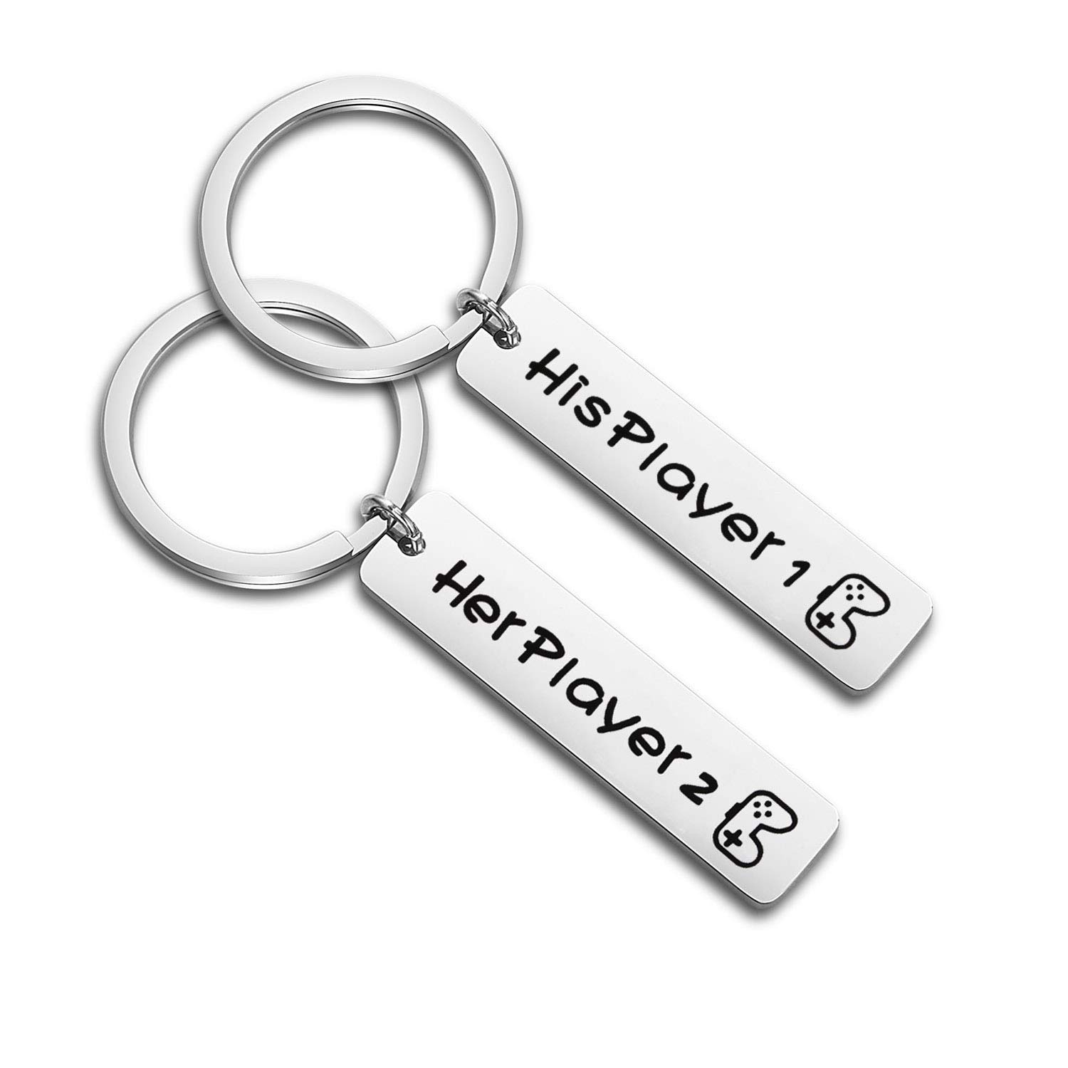 Gamer Couple Keychain Set His Player 1 Her Player 2 Bar Pendant Key Ring KUIYAI