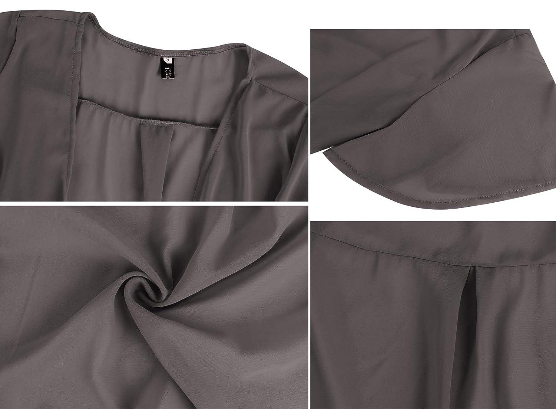iClosam Women Tie Front Chiffon Shrug Short Sleeve Cropped Sheer Bolero Shrug Cardigan
