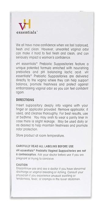 vH essentials Prebiotic Vaginal Suppositories, Ph Balanced for feminine  Odor, Hygiene, Health (15 Ct)