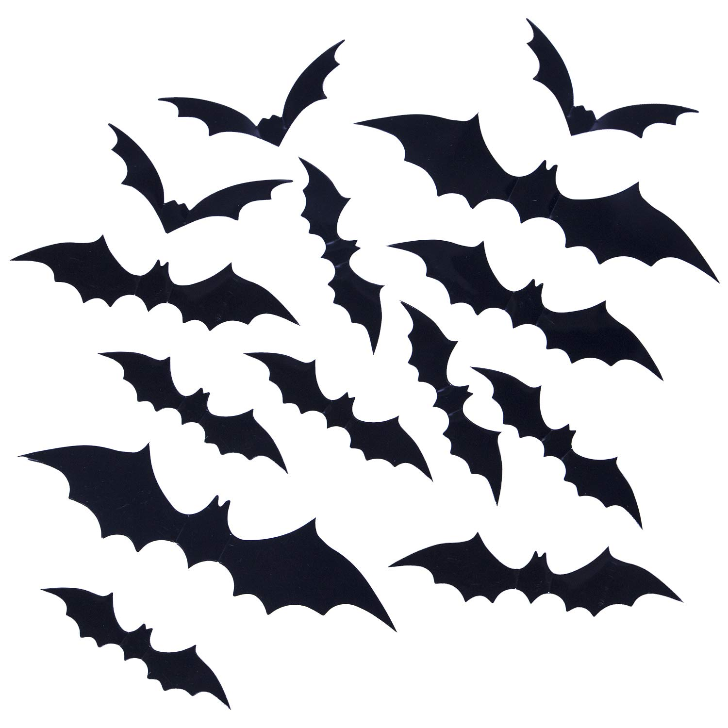 120 Pack Halloween Decorations Bat Decals Plastic 3D Wall Bats Stickers for Home Window Decor Party Supplies (Black) YHmall