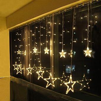 LED Eisregen Lichtervorhang 31V Lichterkette Weihnachten Außen Warmweiß Timer #