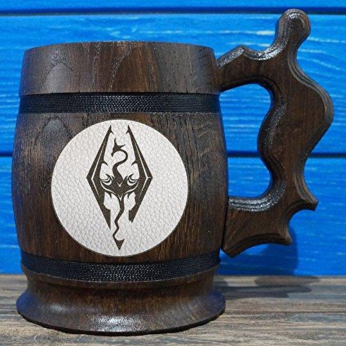 Elder Beer (The Elder Scrolls Skyrim Wooden Beer Mug, The Elder Scrolls Engraved Beer Mug Gift, Oblivion Mug, TES Handmade Wooden Mug, Leather Label, TES02L)