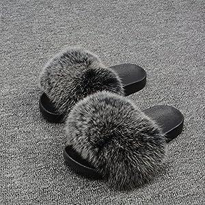 Women Real Fox Fur Slides//Slippers//Sandals//Beach flip flops Birthday Gift