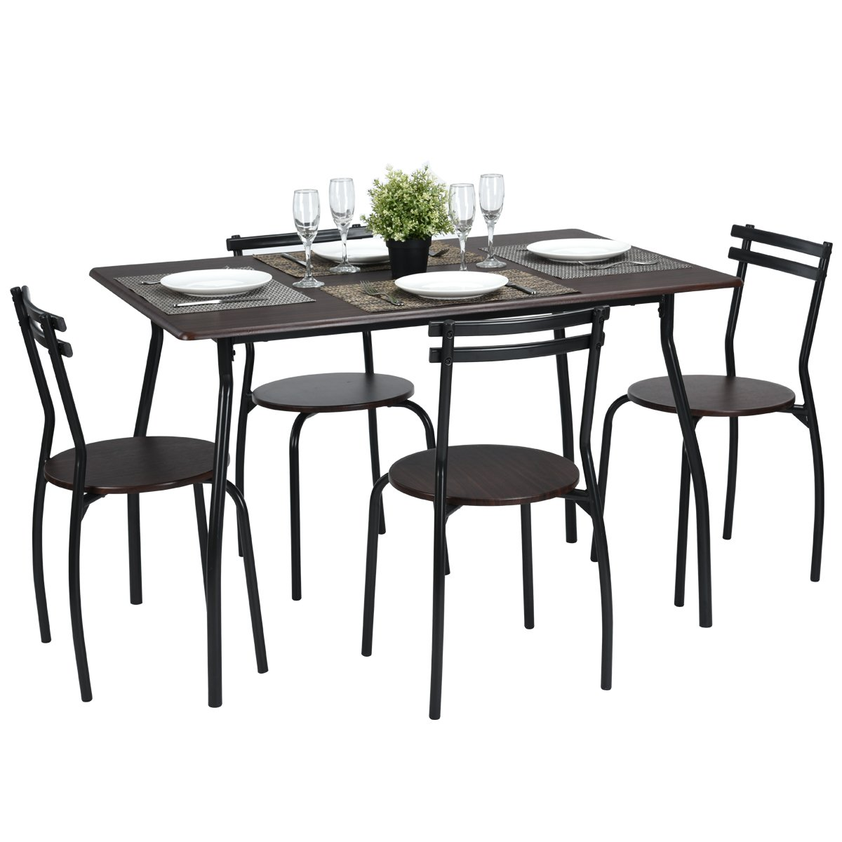 5pcs Dining Table Set Kitchen Furniture Kitchen Table Rectangle Dining Table with 4 Round Dining Chair Dinning Set FurnitureR