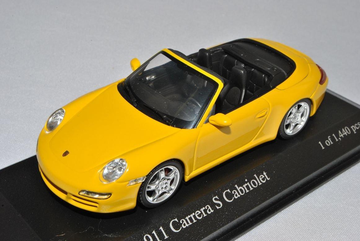 Minichamps Porsche 911 997 Carrera S Cabrio Gelb 2004-2012 1/43 Modell Auto mit individiuellem Wunschkennzeichen