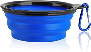 Collapsible Dog Bowl, Food Grade Silicone BPA Free, Foldable Expandable Cup Dish for Pet Cat Food Water Feeding Portable Travel Bowl Blue Free Carabiner