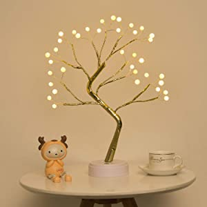 EXTRAFEIN Artificial Bonsai Tree Lights - Table Decor Pearl Tree Fairy Lamp, Battery/USB Operated, Lit Tree Centerpieces for Jewelry Holder,Christmas Festival Decoraction,Mini Night Light