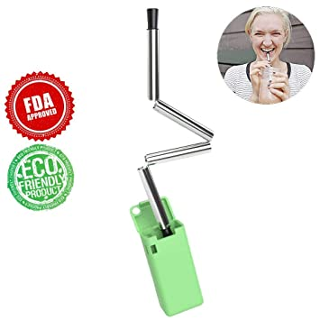Collapsible Reusable Straws Stainless Steel Folding Drinking Straws  Portable Travel Straw with Case Outdoor Household (Green)