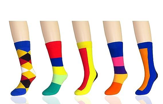 abe78acb05e MYMYU Femmes 5 Paires Coton mode Coloré haute chaussettes Design  Intelligent avec Élastique Manchette Oeuf de