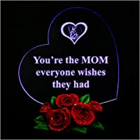 Giftgarden Personalized Heart-Shaped LED Desk Decor with Words Birthday Cake Topper Daughter Son Unique for Mom Mother