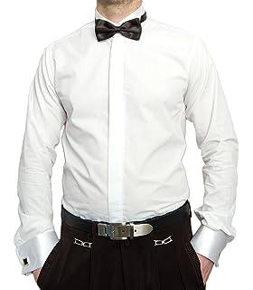 Freebily Camisa Manga Larga Blanca Hombres Slim Fit con Corbata de Moño Camisa Formal de Negocios Trabajo Casual: Amazon.es: Ropa y accesorios