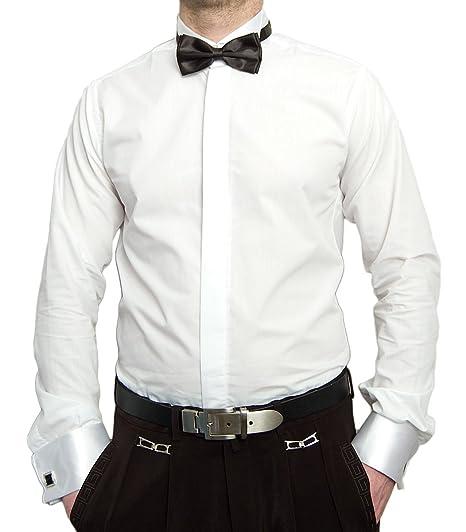 Designer Smoking Camisa Blanco con Negro Pajarita Camisa De ...