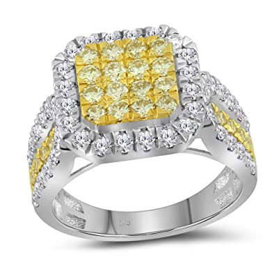 052826fc7083e 14k White Gold Round Canary Yellow Diamond Square Ring 1.75 Ct ...
