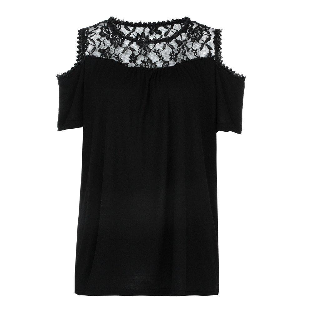 Amober Womens Short Sleeve Cut Out Cold Shoulder Tops Deep V Neck T Shirts