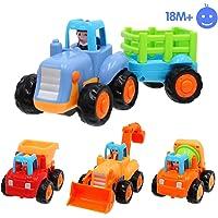 Limtoys Coche Infantil de fricción para bebés, 4 vehículos de construcción
