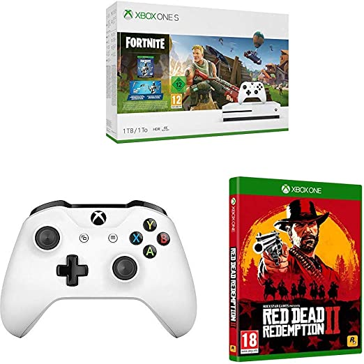 Microsoft Xbox One S - Consola de 1 TB, Color Blanco + Fortnite + ...