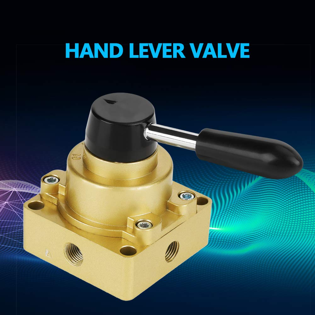 Hand Switching Valve 1.5-8kgf//cm/² HV-02 PT 1//4 Port 3 Positions 4 Ways Air Pneumatic Hand Lever Valve Aluminum Material Stable Performance